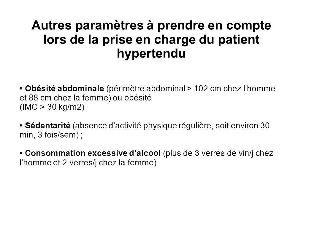 Autres paramètres à prendre en compte lors de la prise en charge du patient hypertendu