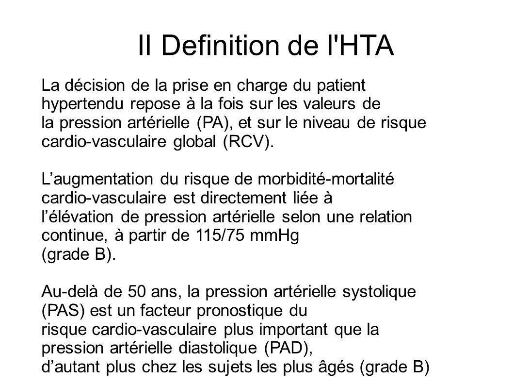 II Definition de l HTA La décision de la prise en charge du patient hypertendu repose à la fois sur les valeurs de.