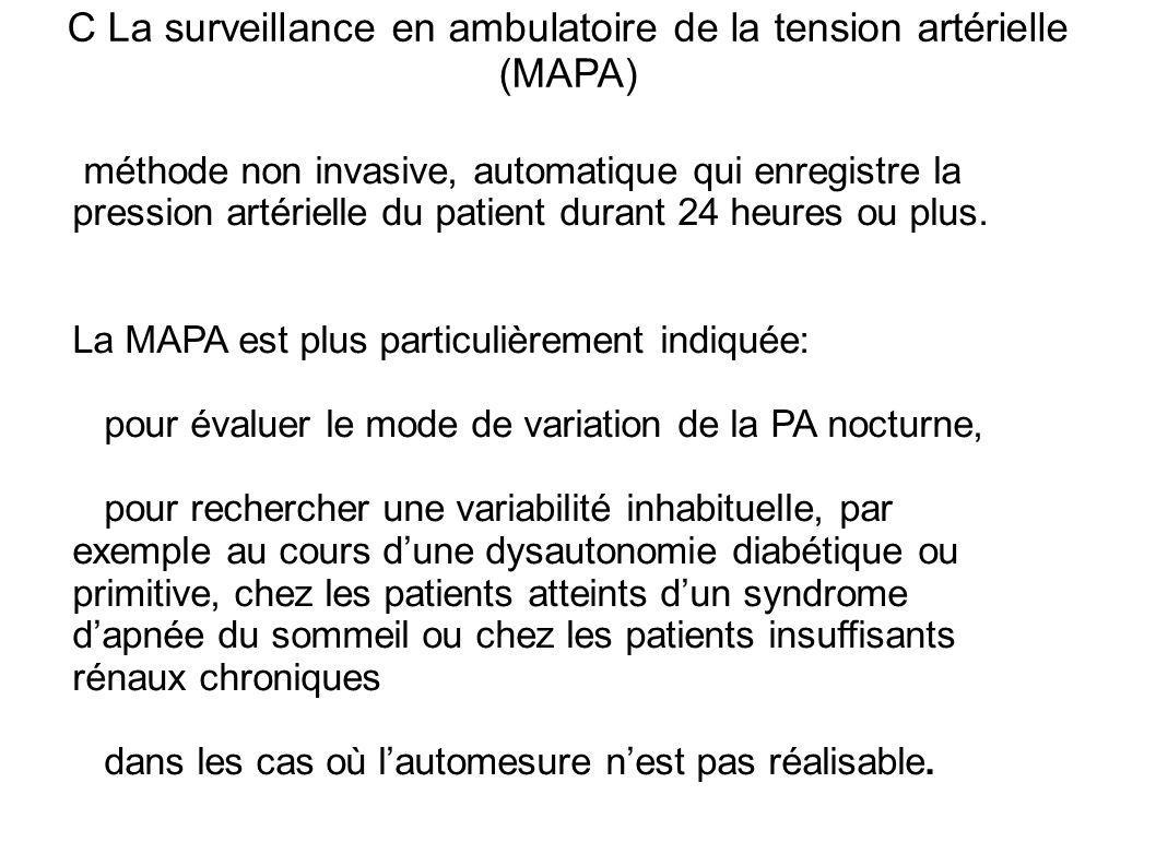 C La surveillance en ambulatoire de la tension artérielle (MAPA)