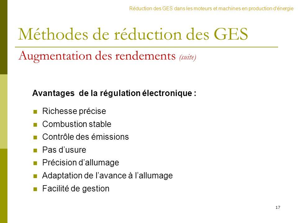 Avantages de la régulation électronique :