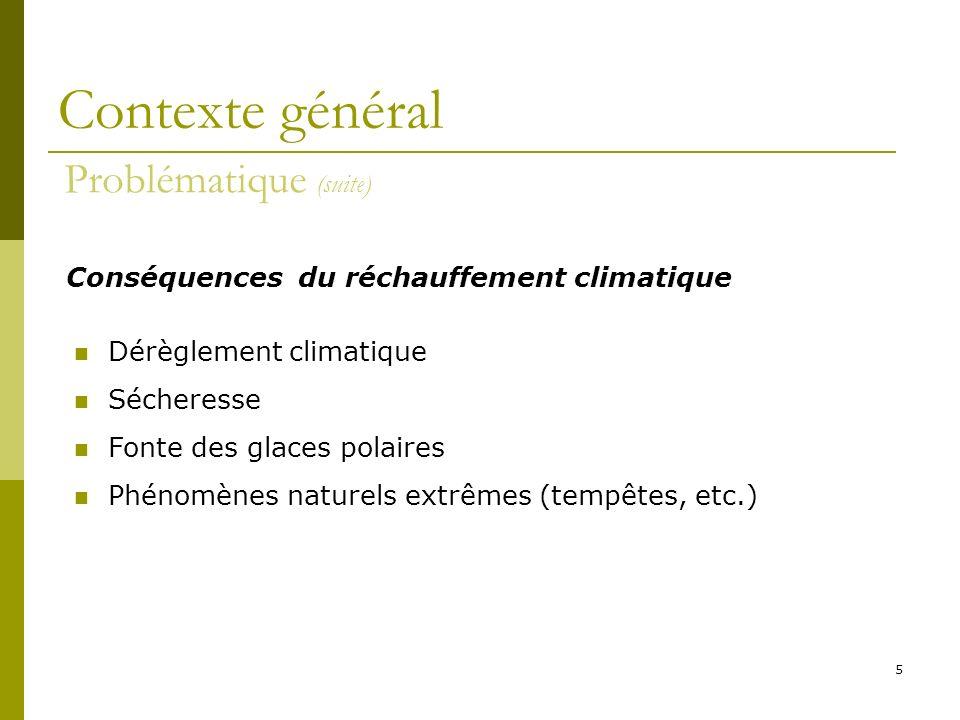 Contexte général Problématique (suite)