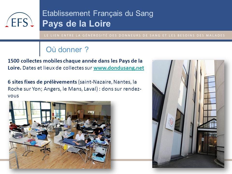 Où donner 1500 collectes mobiles chaque année dans les Pays de la Loire. Dates et lieux de collectes sur www.dondusang.net.