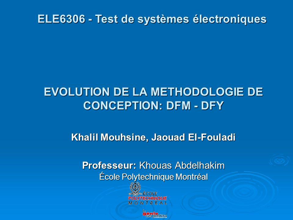 EVOLUTION DE LA METHODOLOGIE DE CONCEPTION: DFM - DFY