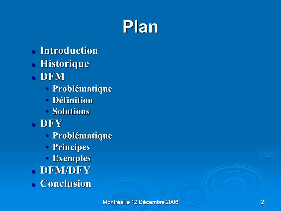 Plan Introduction Historique DFM DFY DFM/DFY Conclusion Problématique