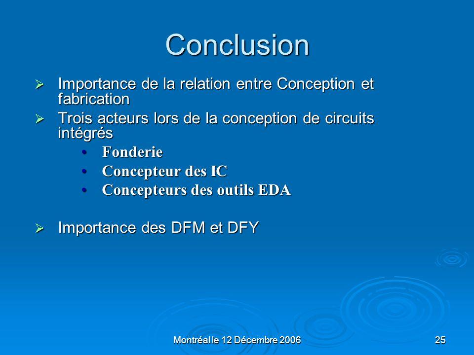 Conclusion Importance de la relation entre Conception et fabrication