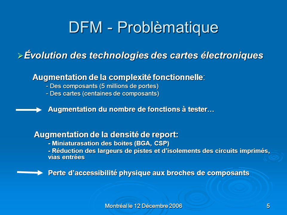 DFM - Problèmatique Évolution des technologies des cartes électroniques. Augmentation de la complexité fonctionnelle: