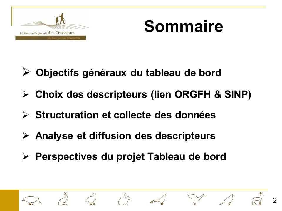 Sommaire Objectifs généraux du tableau de bord