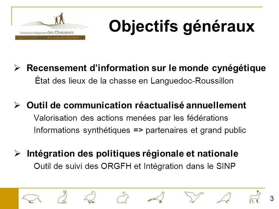 Objectifs généraux Recensement d'information sur le monde cynégétique