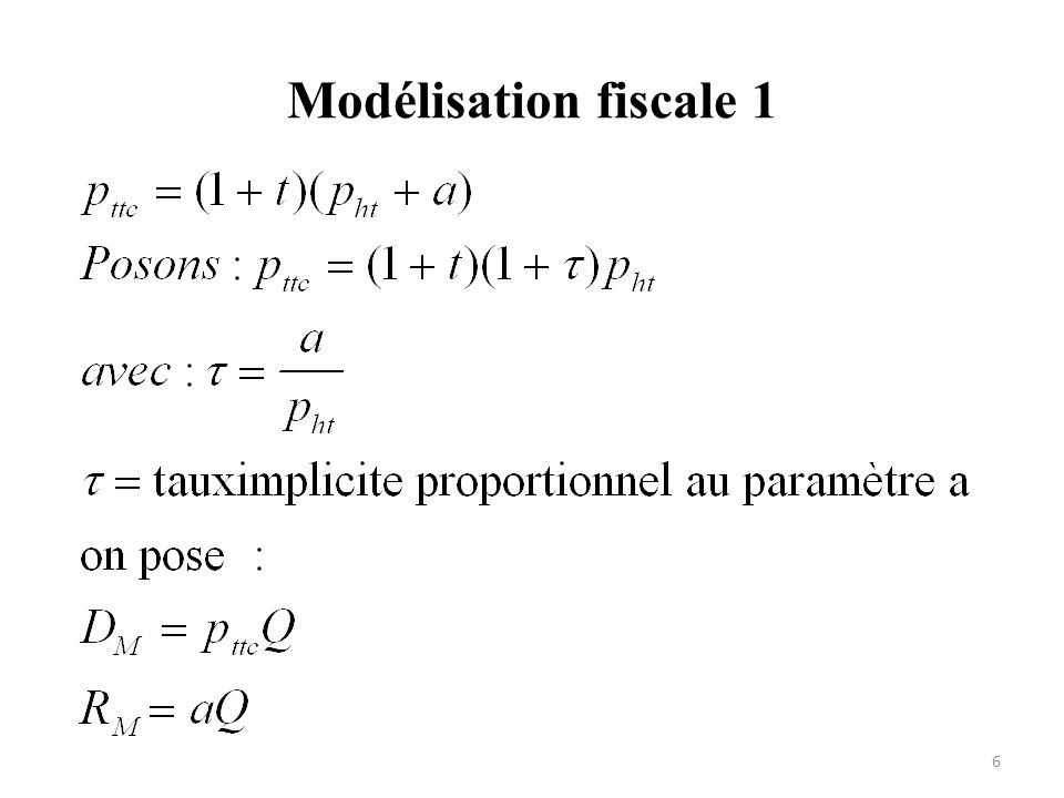 Modélisation fiscale 1 Droit d'accise a T= tva DM la dépense observée
