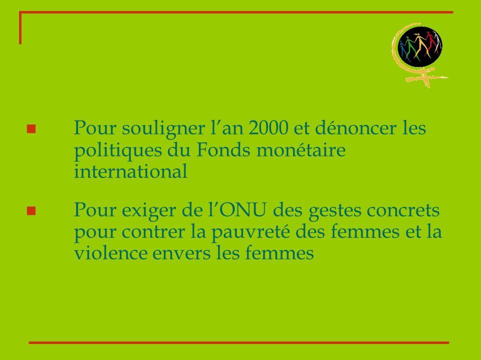 Pour souligner l'an 2000 et dénoncer les politiques du Fonds monétaire international