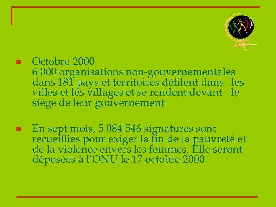Octobre 2000 6 000 organisations non-gouvernementales dans 181 pays et territoires défilent dans les villes et les villages et se rendent devant le siège de leur gouvernement