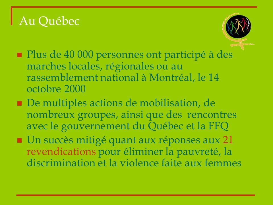 Au Québec Plus de 40 000 personnes ont participé à des marches locales, régionales ou au rassemblement national à Montréal, le 14 octobre 2000.