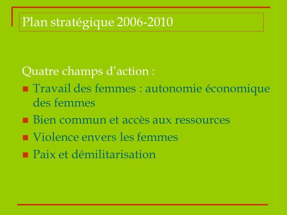 Plan stratégique 2006-2010 Quatre champs d'action :