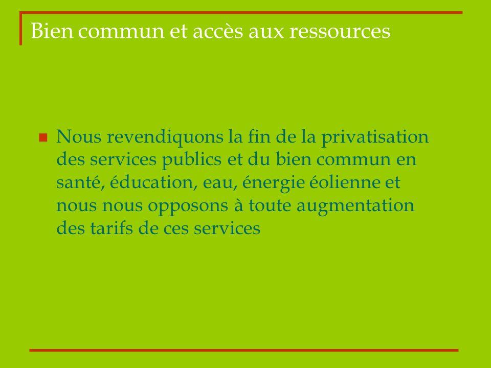 Bien commun et accès aux ressources