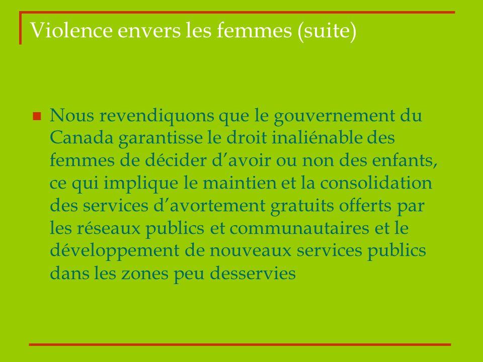Violence envers les femmes (suite)