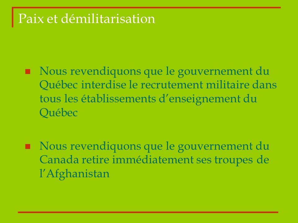 Paix et démilitarisation