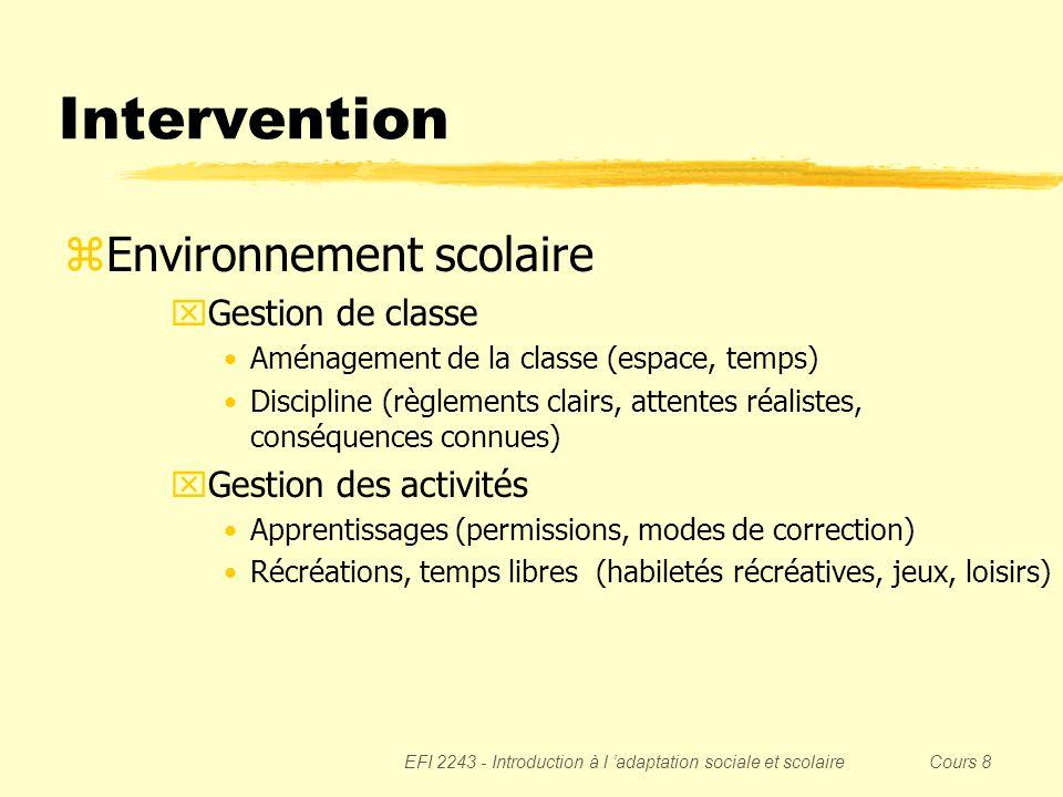 Intervention Environnement scolaire Gestion de classe