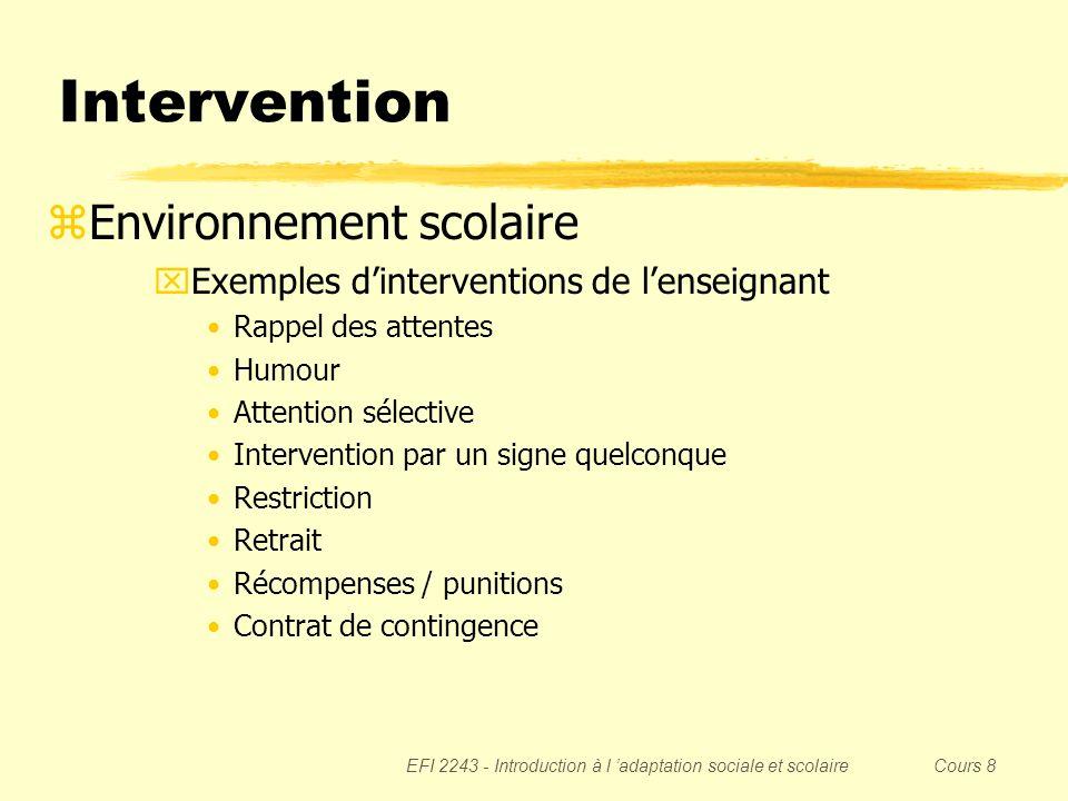 Intervention Environnement scolaire