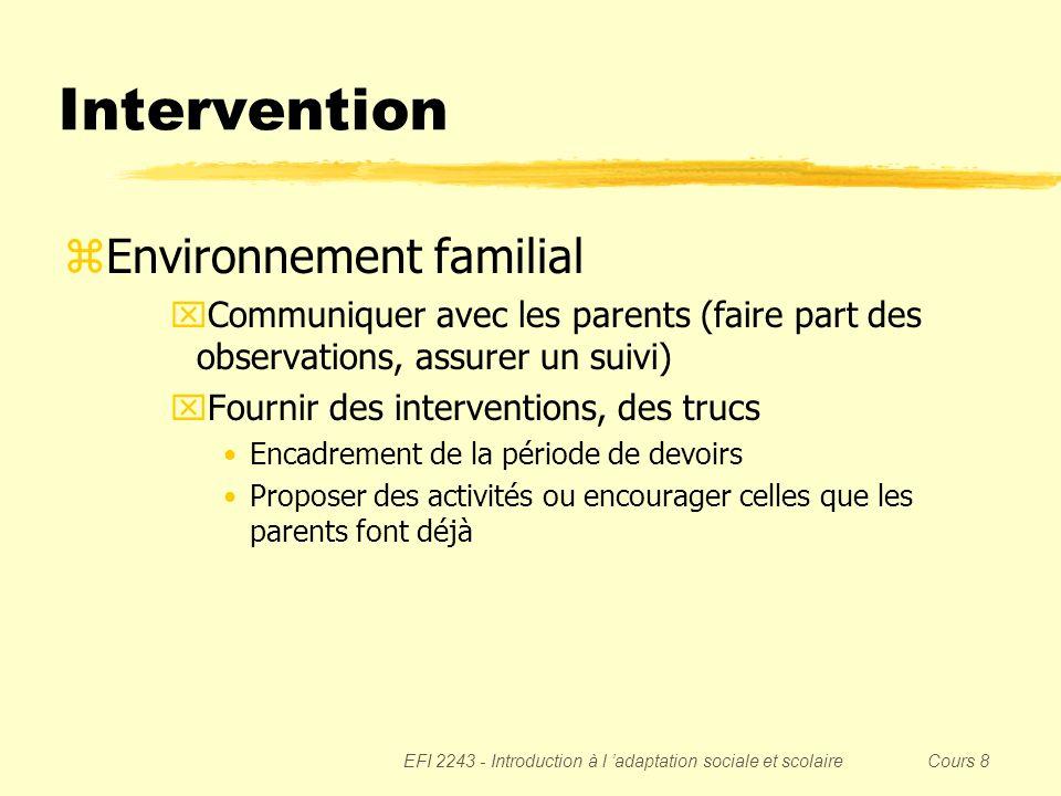 Intervention Environnement familial
