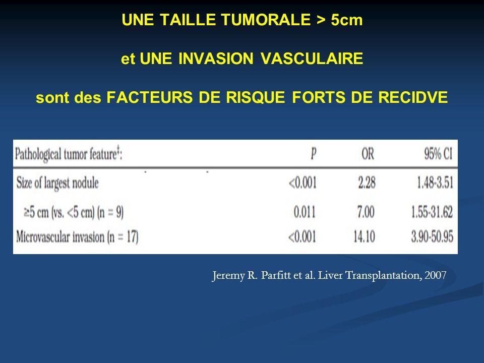 UNE TAILLE TUMORALE > 5cm et UNE INVASION VASCULAIRE sont des FACTEURS DE RISQUE FORTS DE RECIDVE