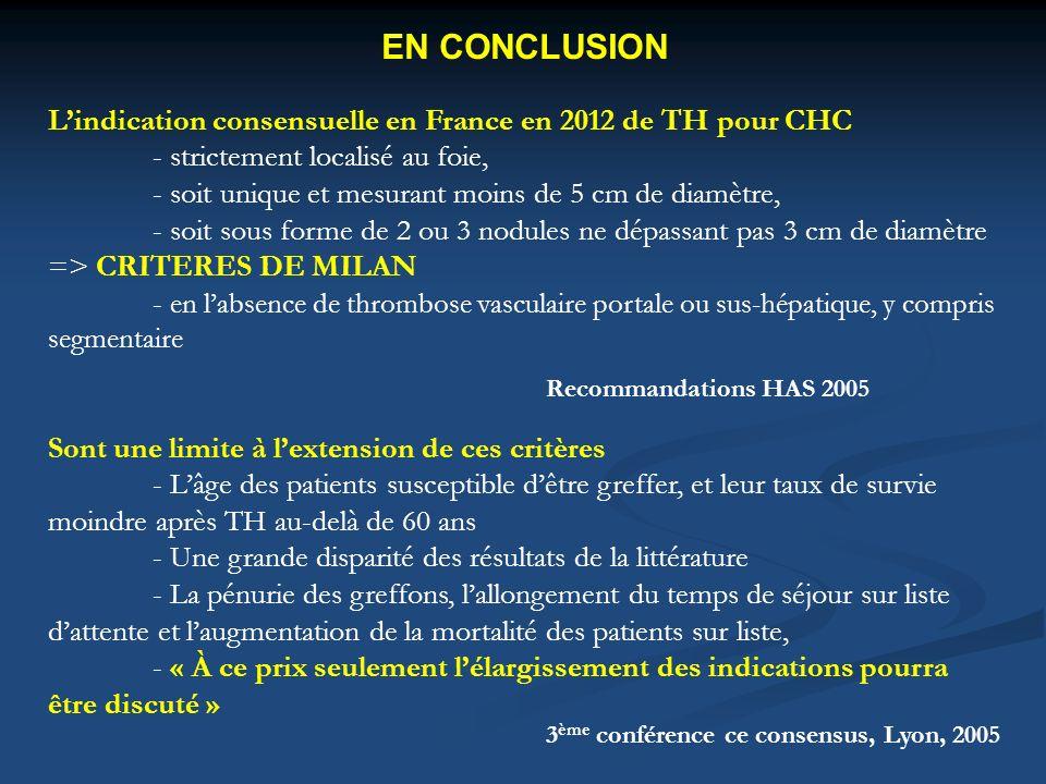 EN CONCLUSION L'indication consensuelle en France en 2012 de TH pour CHC. - strictement localisé au foie,