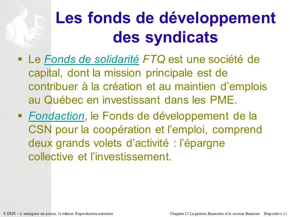 Les fonds de développement des syndicats