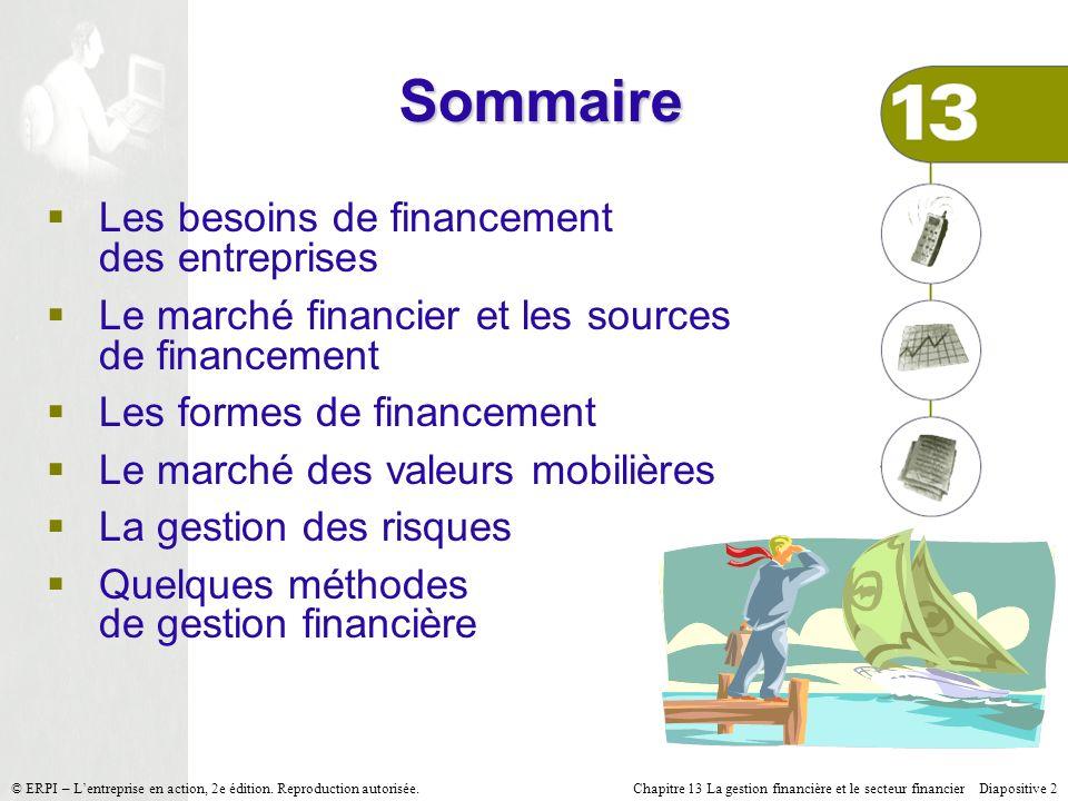 Sommaire Les besoins de financement des entreprises