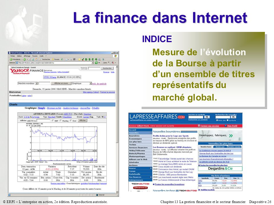 La finance dans Internet