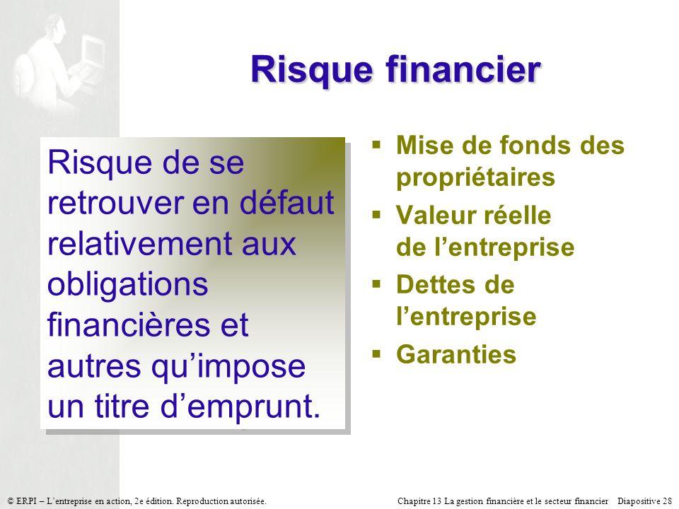 Risque financier Mise de fonds des propriétaires. Valeur réelle de l'entreprise. Dettes de l'entreprise.
