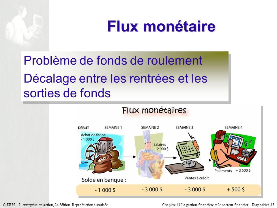 Flux monétaire Problème de fonds de roulement
