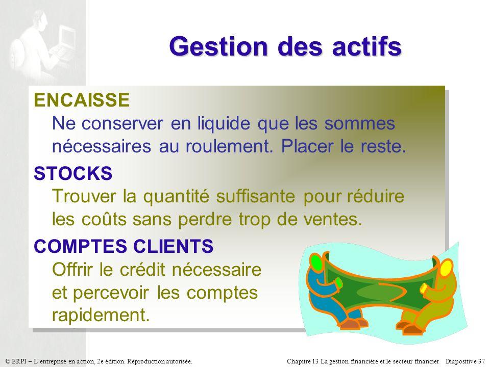 Gestion des actifs ENCAISSE Ne conserver en liquide que les sommes nécessaires au roulement. Placer le reste.