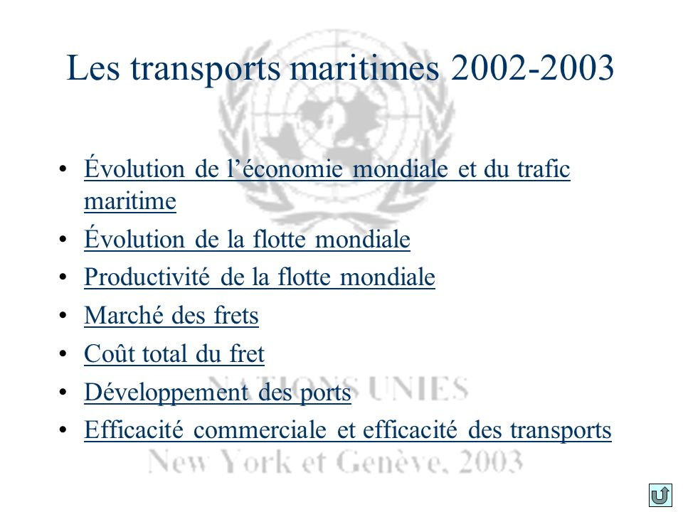 Les transports maritimes 2002-2003