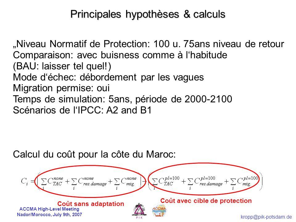 Principales hypothèses & calculs