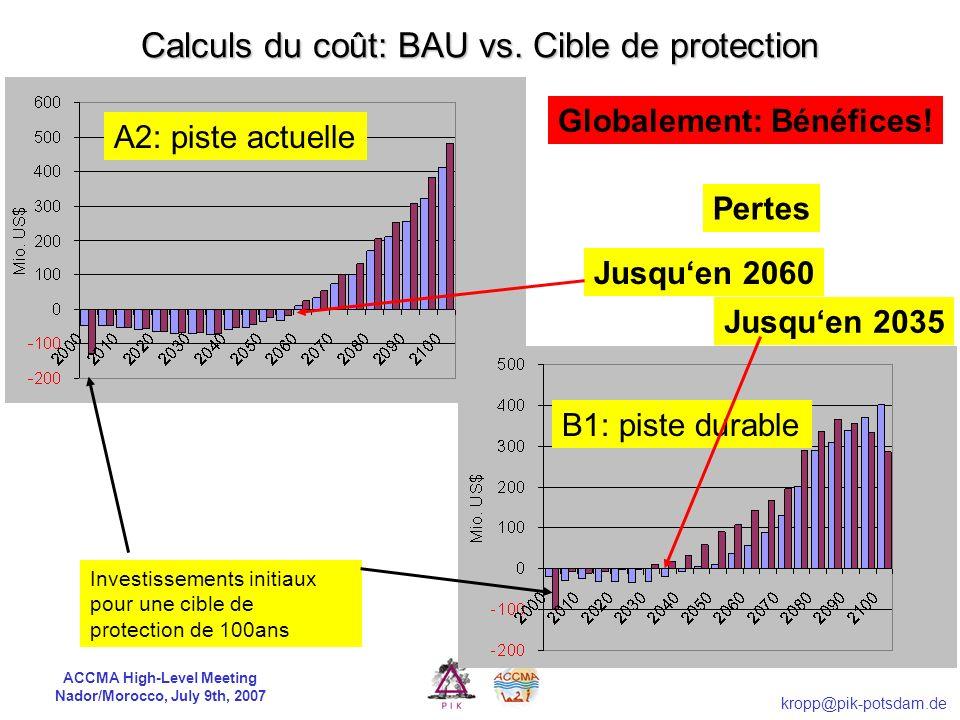 Calculs du coût: BAU vs. Cible de protection