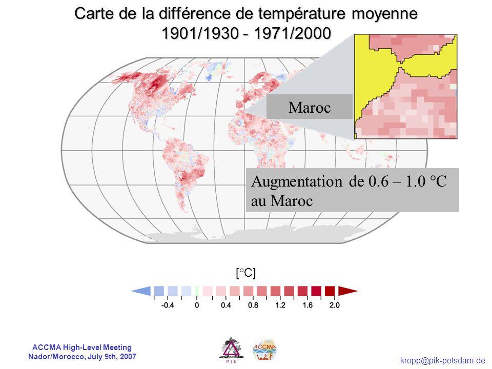 Carte de la différence de température moyenne 1901/1930 - 1971/2000