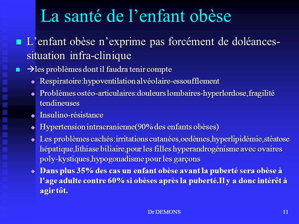 La santé de l'enfant obèse