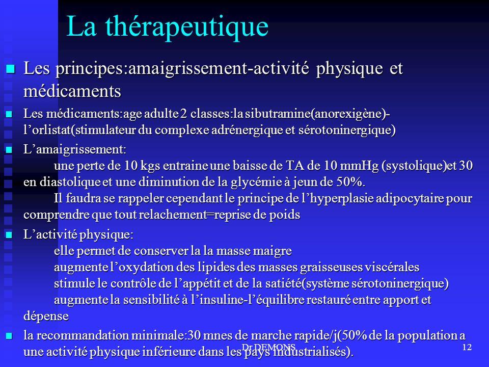 La thérapeutique Les principes:amaigrissement-activité physique et médicaments.