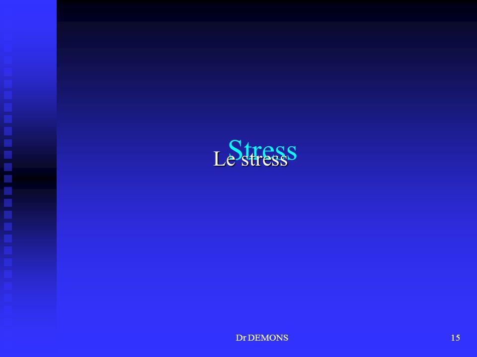 Stress Le stress Dr DEMONS