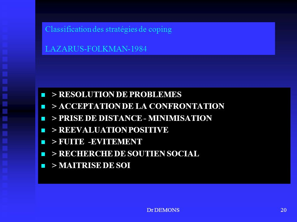 Classification des stratégies de coping LAZARUS-FOLKMAN-1984