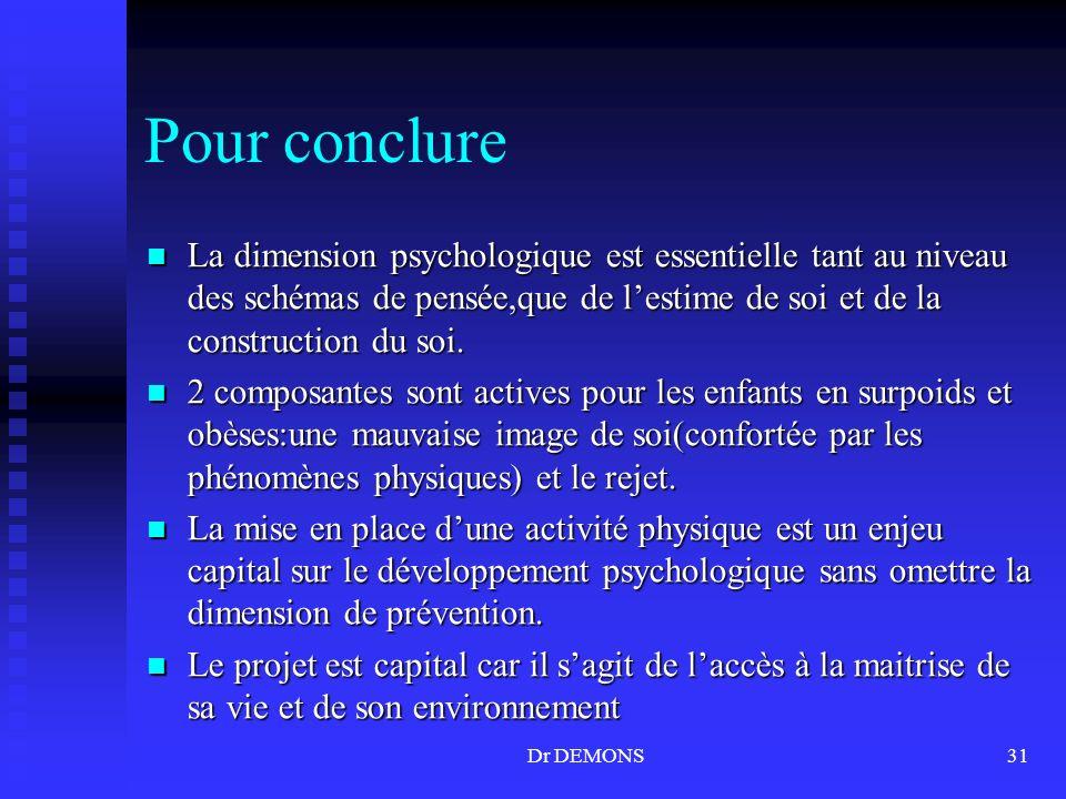 Pour conclure La dimension psychologique est essentielle tant au niveau des schémas de pensée,que de l'estime de soi et de la construction du soi.