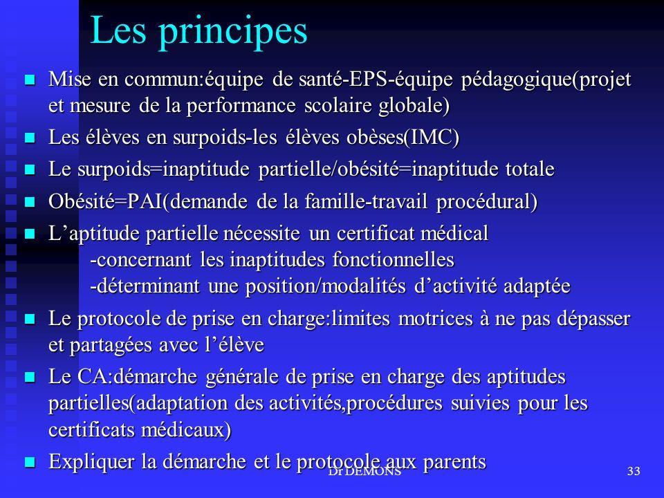 Les principes Mise en commun:équipe de santé-EPS-équipe pédagogique(projet et mesure de la performance scolaire globale)