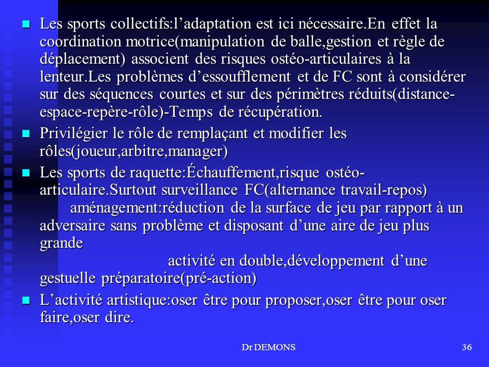 Les sports collectifs:l'adaptation est ici nécessaire