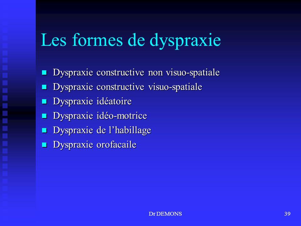 Les formes de dyspraxie