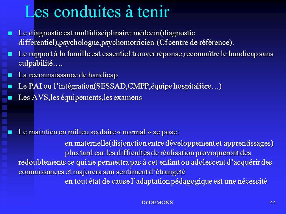 Les conduites à tenir Le diagnostic est multidisciplinaire:médecin(diagnostic différentiel),psychologue,psychomotricien-(Cf centre de référence).