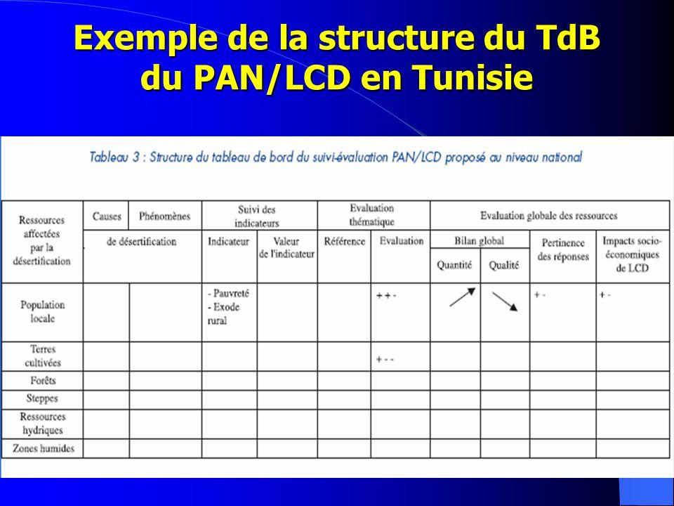 Exemple de la structure du TdB du PAN/LCD en Tunisie