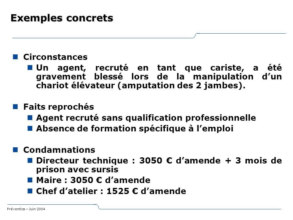 Exemples concrets Circonstances