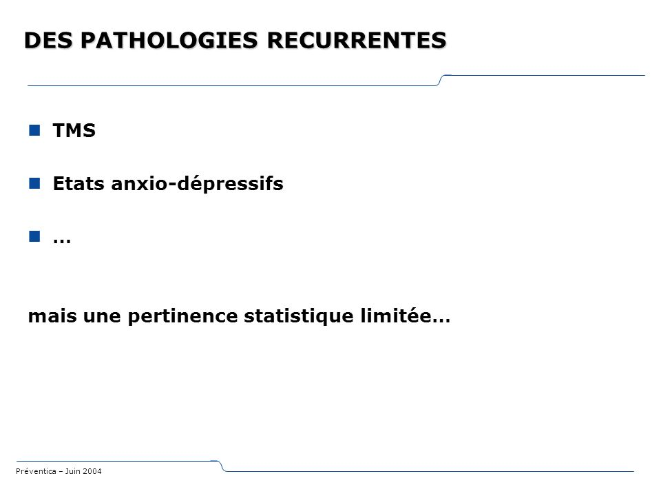 DES PATHOLOGIES RECURRENTES