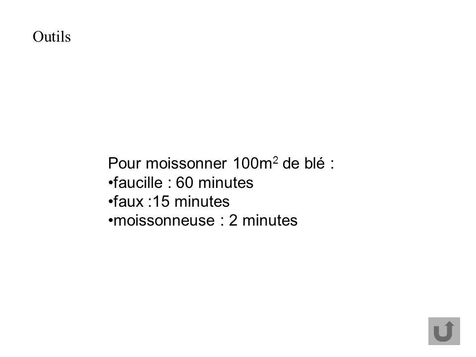 Outils Pour moissonner 100m2 de blé : faucille : 60 minutes.