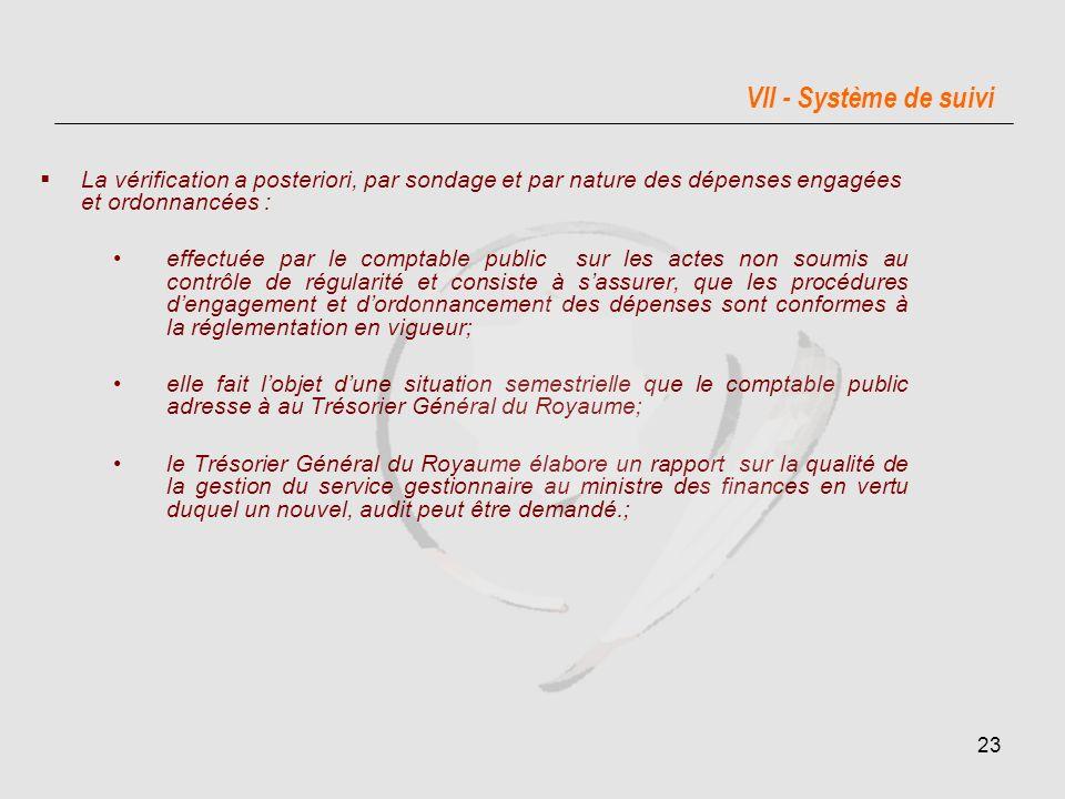 VII - Système de suivi La vérification a posteriori, par sondage et par nature des dépenses engagées et ordonnancées :