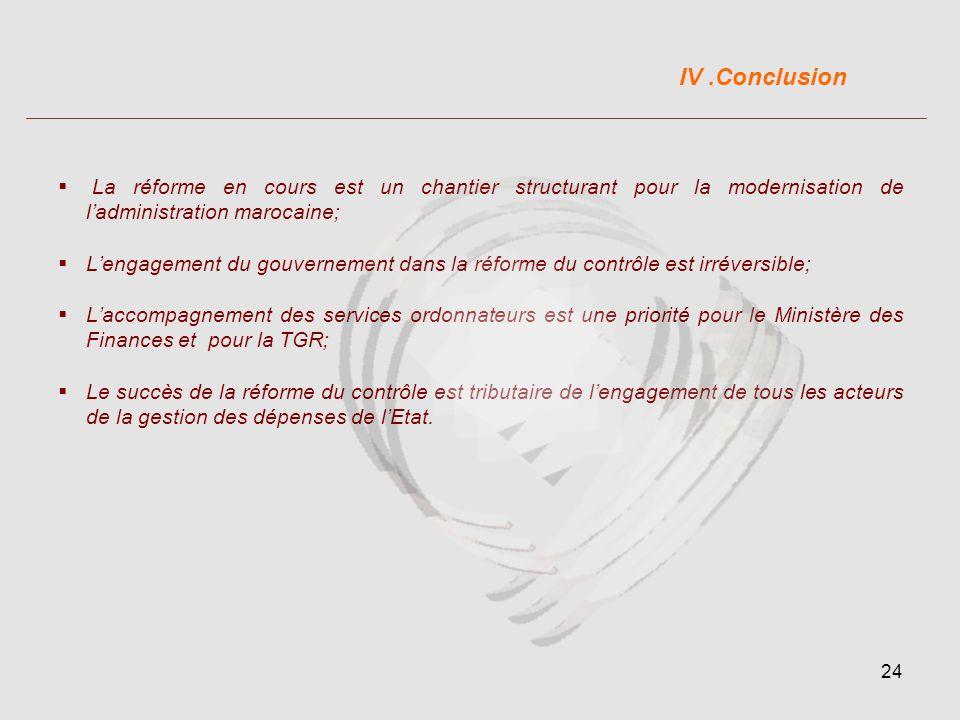 IV .Conclusion La réforme en cours est un chantier structurant pour la modernisation de l'administration marocaine;